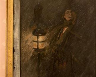 Pastel on Paper, Man in Snow, Leon Guipon