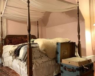 Canopy Bed, Antique Trunk from Nathan Neat and Co