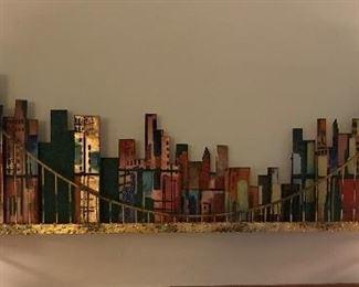 Large MCM Golden Gate Bridge metal sculpture wall hanging