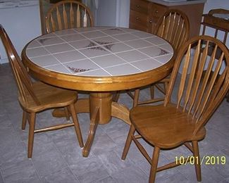 Tile top oak kitchen pedestal table and oak bentwood chairs