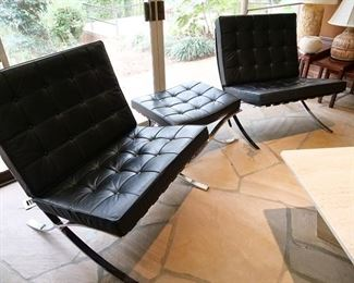 Pair of Vintage Barcelona Chairs with Ottoman