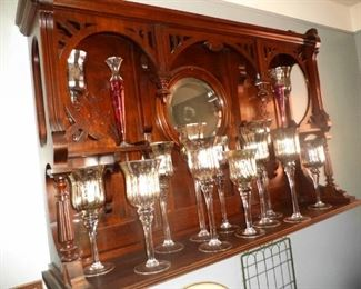 mahogany cabinet shown in photo permanently affixed to wall and not for sale.  Mercury glass is available for purchase.