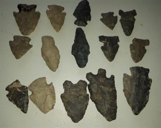 Five bags of interesting old arrowheads Native American Indian