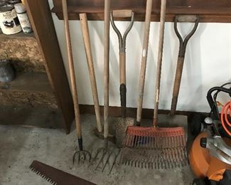 Yard tools and an electric mower