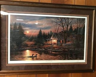 "Terry Redlin "" Quiet of the Evening"" Signed and numbered 2538 out of a run of 4800."