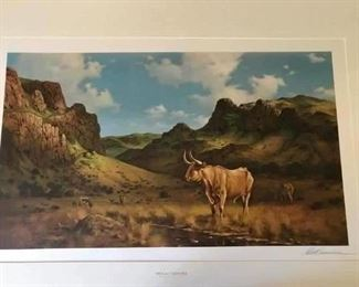 "Signed and numbered print by Robert Summers protected sleeve included . ""Texas Longhorn"""