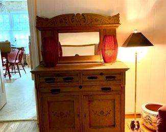 Antique Oak Dresser Side Board with Mirror