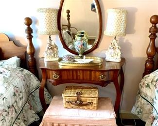Antique Vanity Table & Mirror