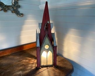 Antique painted tin church - lighted