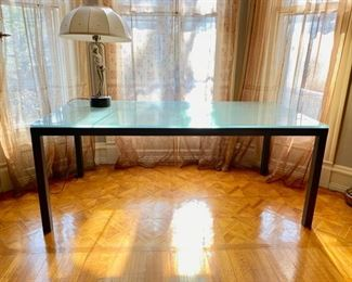 Iron and glass dining table