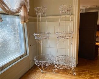 Wonderful pair of tall Victorian Wire plant stands