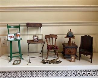 Miniature chairs, frames, antique thread stand