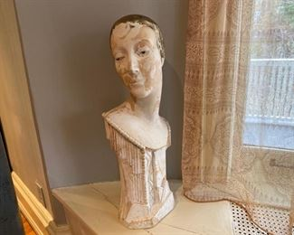 deco chalk ware bust (repaired)