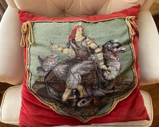 19th c.  beaded needlepoint pillow