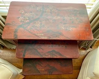 Japanned nesting tables