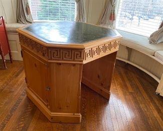 leather top carved octagonal desk