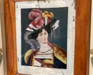 19th c. reverse painted on glass