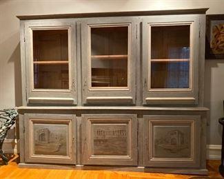 Scenic painted glass door cabinet