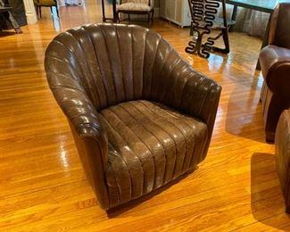 Warren Bennett leather swivel chair