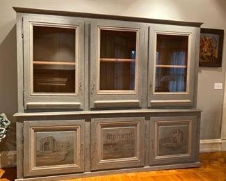 Hand painted glass door cabinet