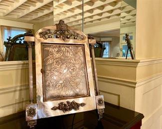 Victorian silver-plate mirror