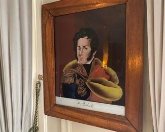 19th c. reverse painted portrait