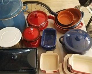 Terracotta pots, bread box, trifle bowl, stock pot