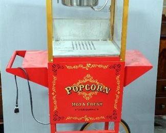 "Wisefame International Electric Popcorn Maker 2-Wheeled Cart, Model #20215, 61"" x 32"" x 18"""