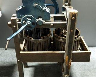 "Antique Cast Iron Apple Cider Press, 46"" x 34"" x 20"""