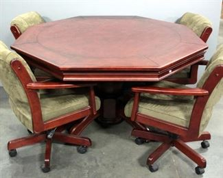 Octagonal Solid Wood Gaming Table With Lid And 4 Upholstered Swivel Chairs On Wheels