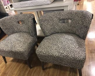 Leopard print Mid Century style Chairs