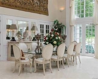 Henredon Dining Room Set with 12 Chairs and Sideboard