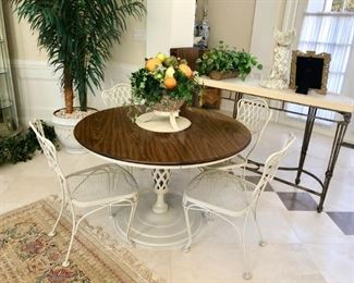 Cream Metal Pedestal Table with Wood Top and  4 Matching Chairs