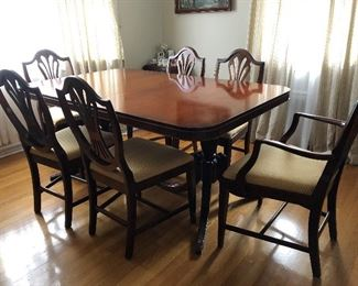 Mint condition Bassett Antique dining table, chairs, China closet and serving table