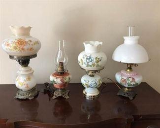 Four Vintage Globe Lamps