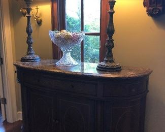 Thomasville, Earnest Hemmingway Collection, Sideboard with marble top, Exquisite and Pristine.  Shown here with tall, banquet lamps