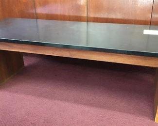 "Sleet solid wood formica-top coffee table, 4'x18"""