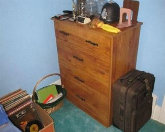 Bedroom dresser and household items