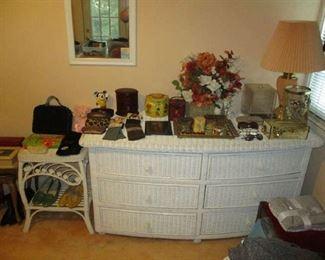 Wicker bedroom dresser and nightstand