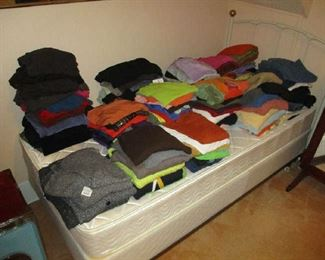 Twin bed, women's sweaters and clothing