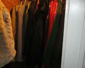 Closet of women's coats and jackets