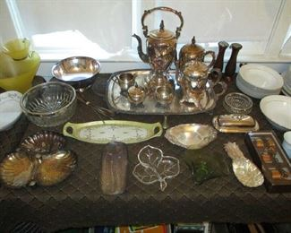 Glassware and silver plate items