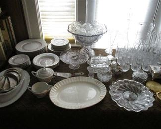 Clear glass and set of china