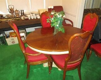 Vintage dining room set, table and 6 chairs, Hollywood Regency