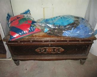 Vintage Cedar Chest and clothing items