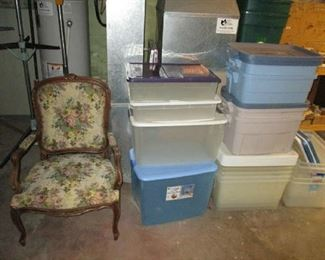 Needlepoint armchair and storage tubs