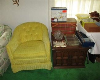 End table and vintage barrel chair, one of two