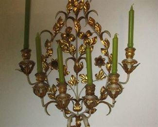 Hollywood Regency brass candlestick holder wall mount