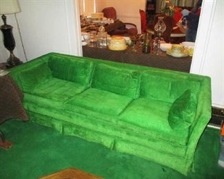 Vintage, kelly green, henredon sofa for klingman's furniture Company
