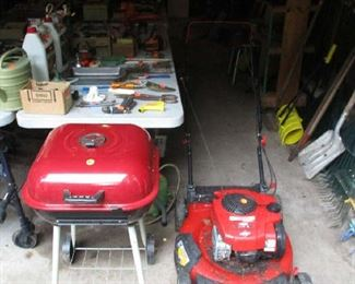 lawn  mower and grill